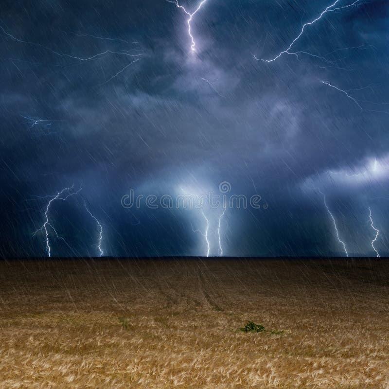 Ciel orageux foncé avec des foudres, fond de prévisions météorologiques photos stock