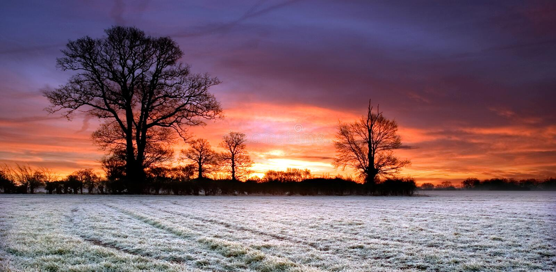 Ciel rouge au-dessus d'un champ dans Scole Diss Norfolk photos stock