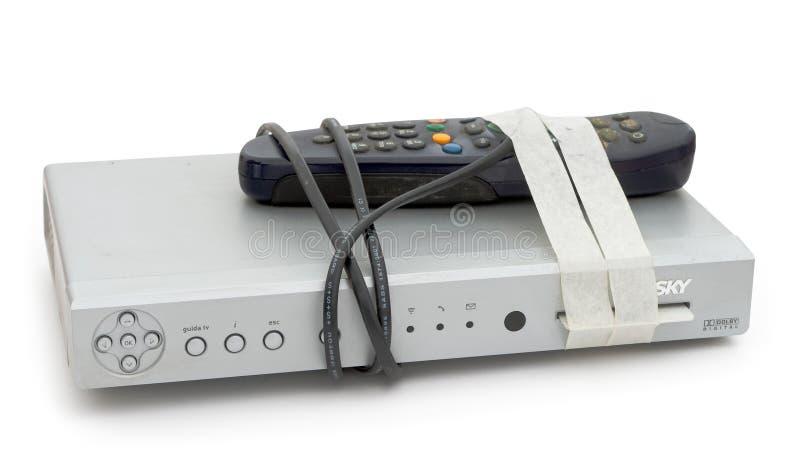 CIEL TV - vieille boîte etc. de décodeur étant retournée, non désiré images libres de droits