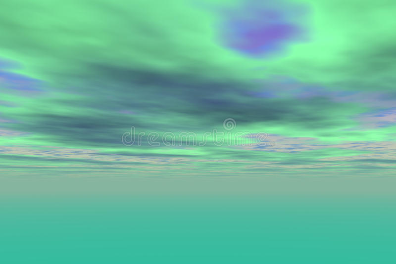 Ciel vert abstrait de coucher du soleil avec des nuages illustration stock