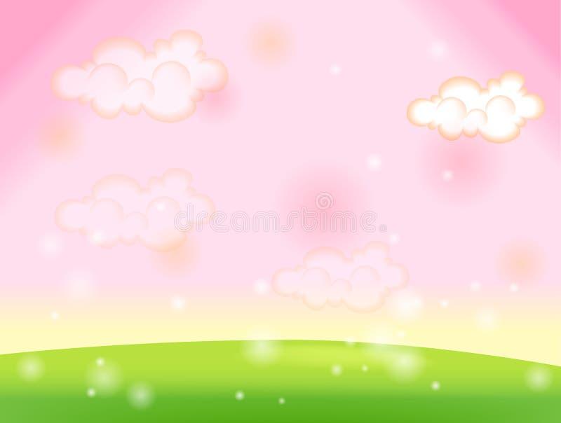 ciel vert de rose de pelouse illustration de vecteur
