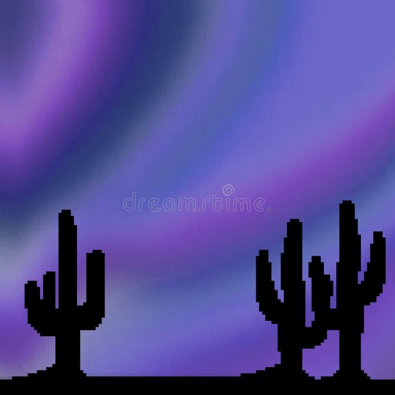 Ciel vif tiré de désert de bit du pixel 8 avec le premier plan de cactus illustration stock
