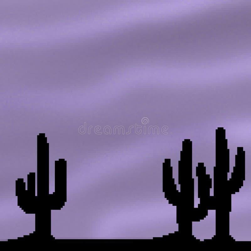 Ciel vif tiré de désert de bit du pixel 8 avec le premier plan de cactus illustration libre de droits