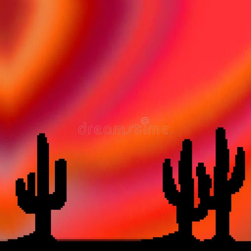 Ciel vif tiré de désert de bit du pixel 8 avec le premier plan de cactus illustration de vecteur
