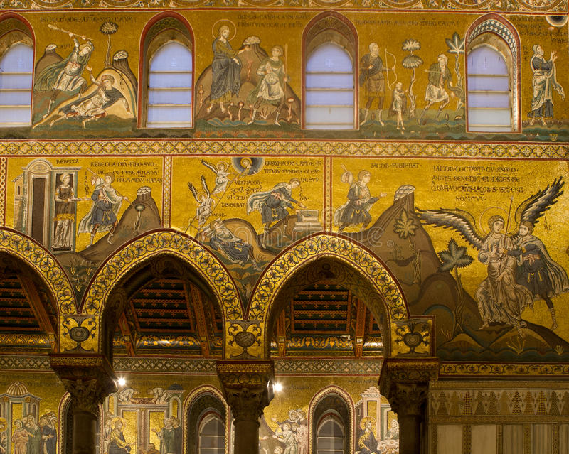Cieling fragment. In the Monreale cathedral stock photography