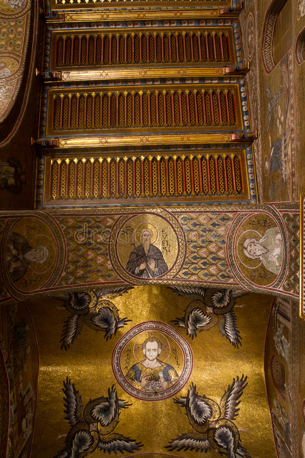Cieling fragment. In the Monreale cathedral royalty free stock photography