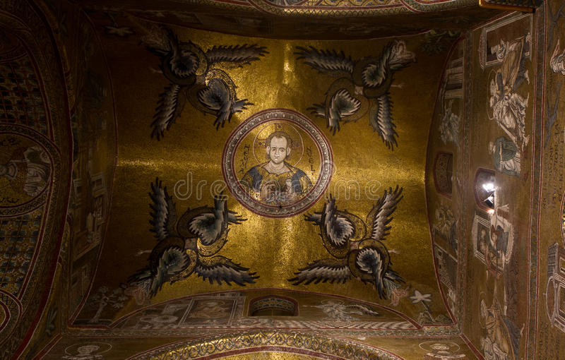 Cieling fragment. In the Monreale cathedral stock image
