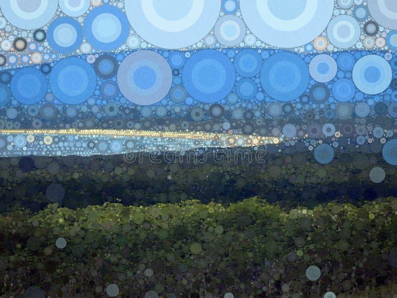 Cielo abstracto de la montaña del océano del mosaico y fondo texturizado playa stock de ilustración