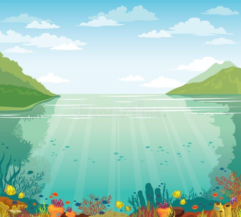 Cielo azul, arrecife de coral subacuático, mar e islas libre illustration