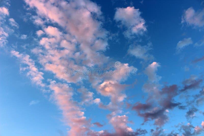 Cielo azul brillante con las nubes rosadas wispy que se mueven a través de la cara de ella imagen de archivo libre de regalías
