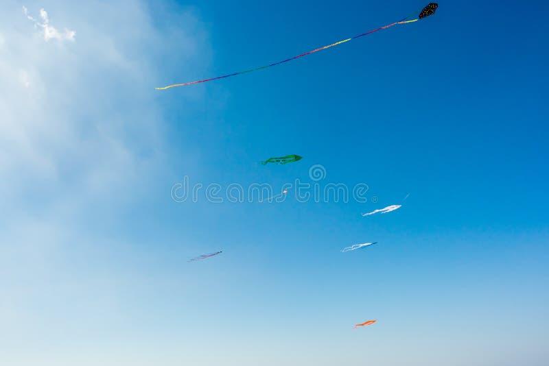 Cielo azul brillante con muchas cometas coloridas imagenes de archivo