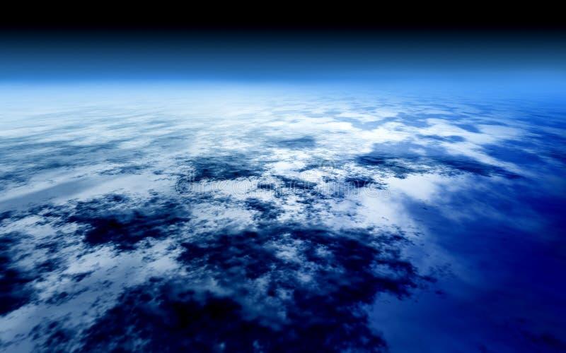 Cielo azul brillante sobre el mundo de la atmósfera ilustración del vector