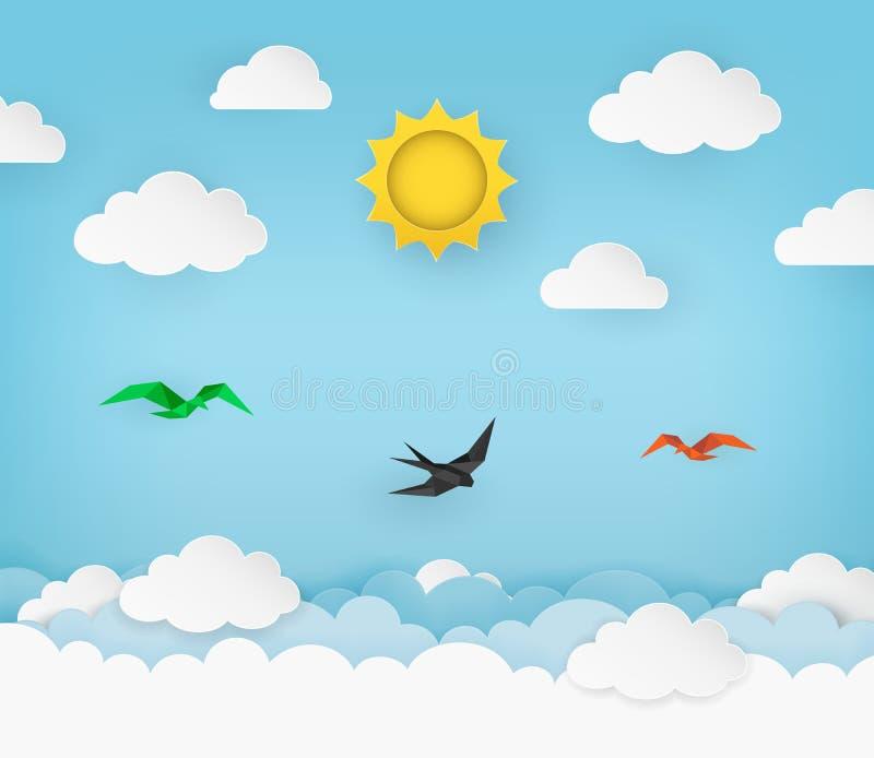 Cielo azul claro con el sol, las nubes y los pájaros de vuelo Vuelo del trago en el cielo Fondo nublado del paisaje ilustración del vector
