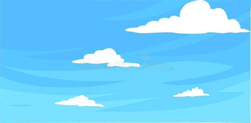 Cielo azul con el fondo de las nubes ilustración del vector