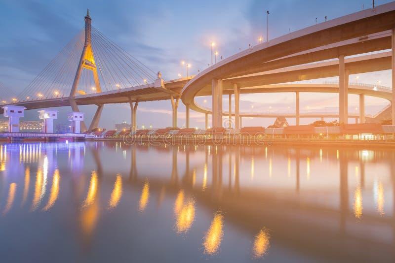 Cielo azul crepuscular sobre frente del río de puente colgante fotografía de archivo libre de regalías