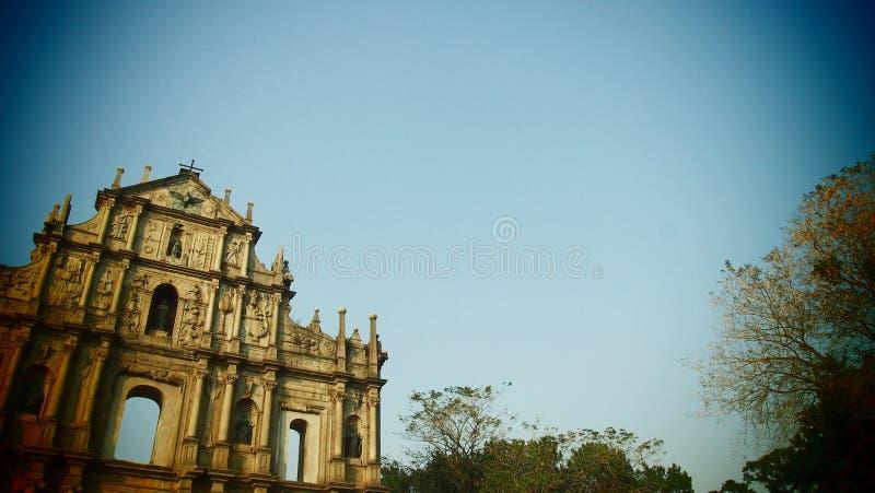 Cielo azul de la arquitectura histotical del monumento de Macao Macao foto de archivo libre de regalías