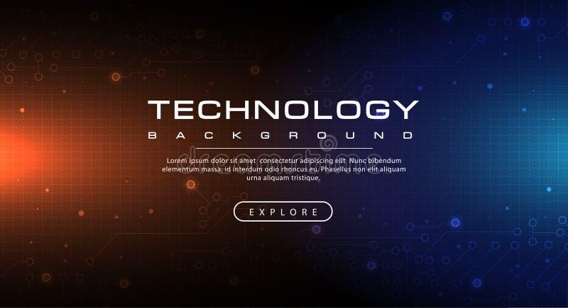 Cielo azul de la bandera de la tecnología y concepto anaranjado del fondo con efectos luminosos stock de ilustración