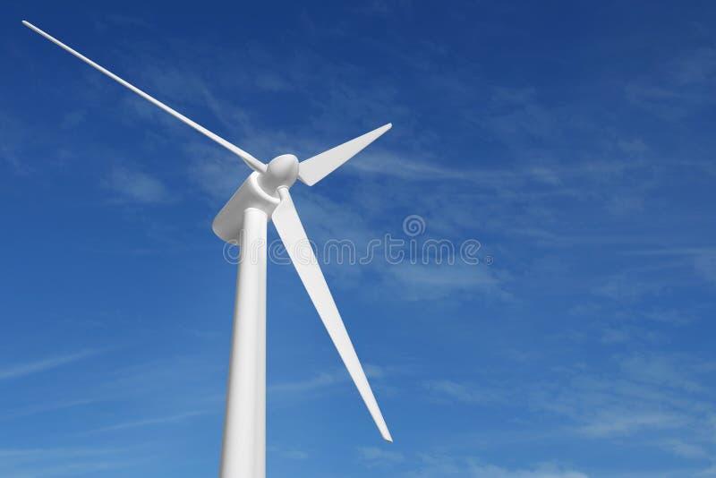 Cielo azul de la electricidad de la energía de la turbina de viento ilustración del vector