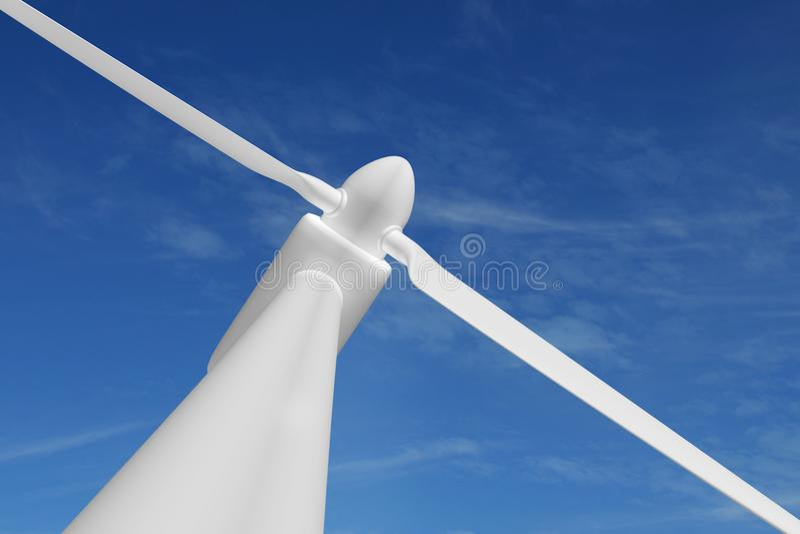 Cielo azul de la electricidad de la energía de la turbina de viento stock de ilustración