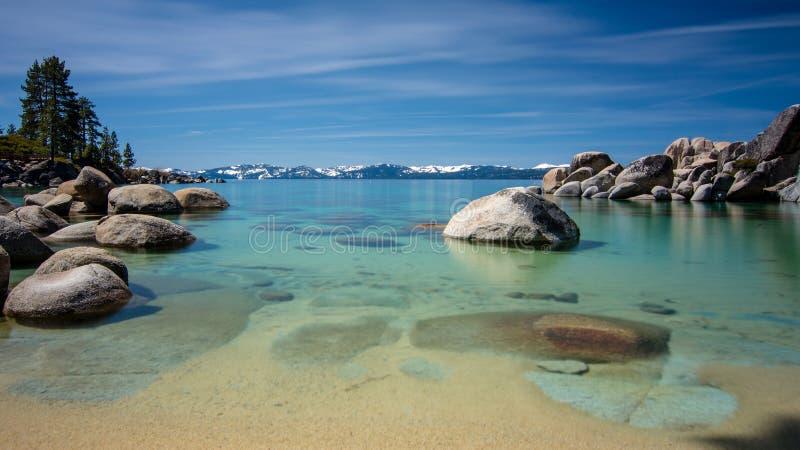 Cielo azul de la exposición larga del lago Tahoe del puerto de la arena fotos de archivo libres de regalías