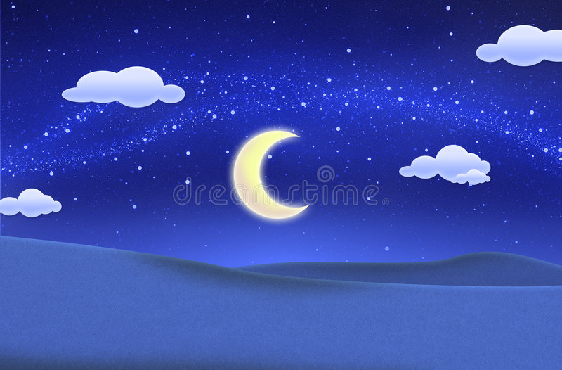 Cielo azul de la noche y campo verde hermoso foto de archivo