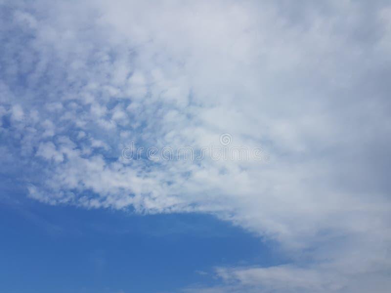 Cielo azul del cloudscape del verano con el fondo en blanco vacío natural de la atmósfera nublada de las nubes fotografía de archivo libre de regalías