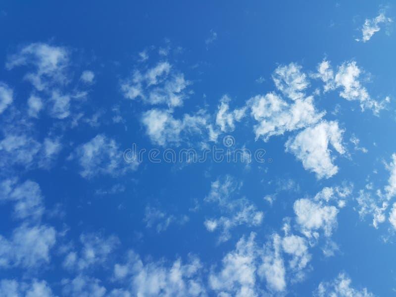 Cielo azul del cloudscape del verano con el fondo en blanco vacío natural de la atmósfera nublada de las nubes foto de archivo libre de regalías