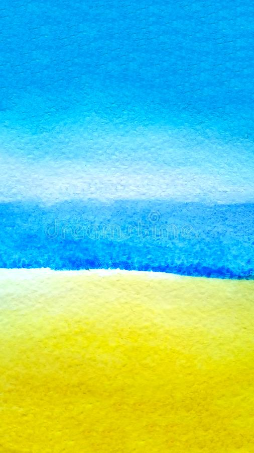 Cielo azul del fondo del extracto de la acuarela, agua ultramarina del océano del mar y arena ocre amarilla con el espacio de la  imagenes de archivo