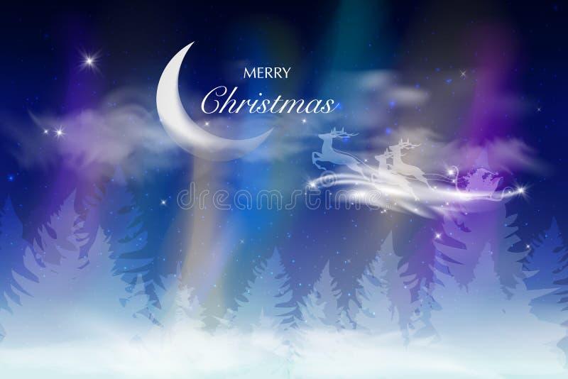 Cielo azul del invierno con la nieve que cae, copos de nieve con un paisaje del invierno con la luna libre illustration
