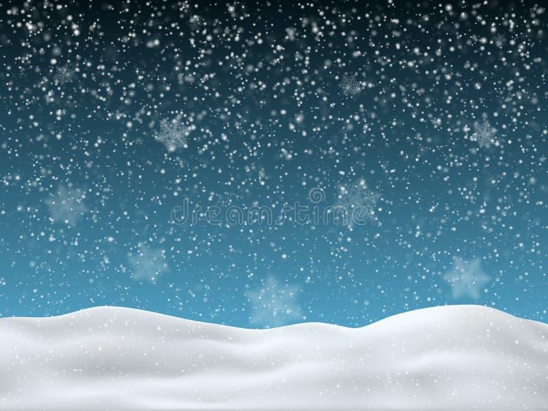 Cielo azul del invierno con nieve que cae Copos de nieve borrosos grandes en el primero plano Fondo del invierno para la Feliz Na stock de ilustración