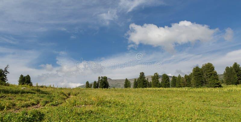 Cielo azul hermoso con las nubes sobre el top de las montañas de Altai fotografía de archivo