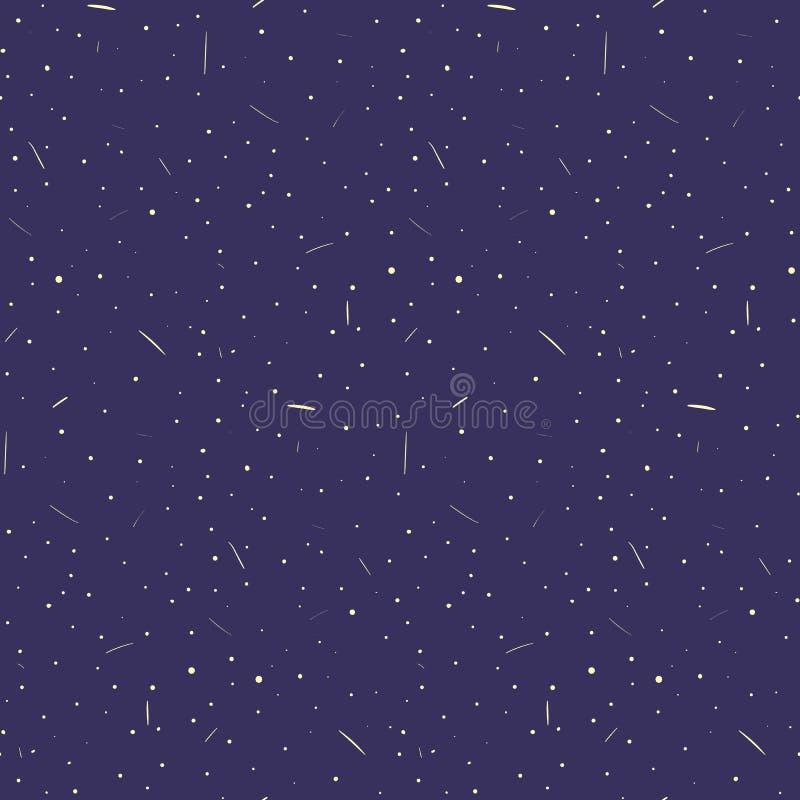 Cielo azul marino dibujado mano agradable con el modelo inconsútil de las estrellas y de los cometas Textura linda del cielo noct stock de ilustración