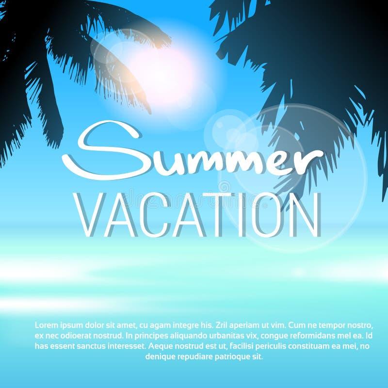 Cielo azul tropical de las vacaciones de verano de la playa de Sun de la palmera de la isla del paraíso stock de ilustración