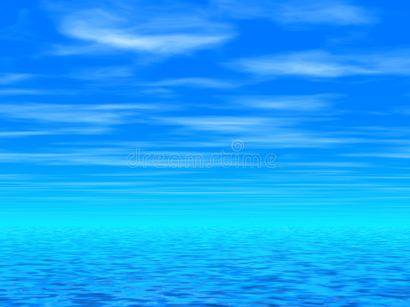 Cielo azul y mar ilustración del vector