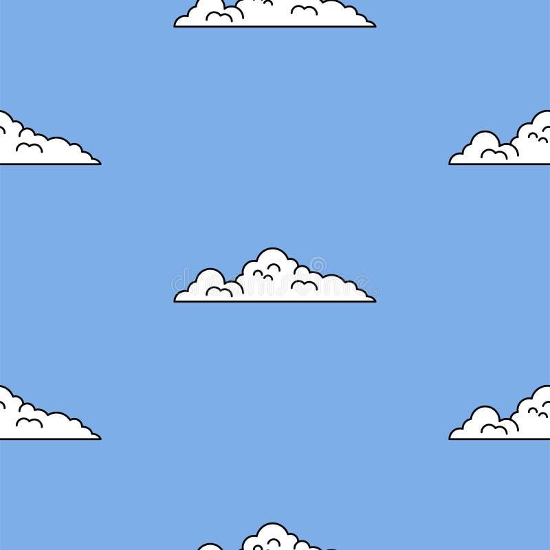 Cielo azul y nubes del estilo del fondo del arte del juego del vintage Fondo inconsútil para el estilo mordido 8 del juego libre illustration
