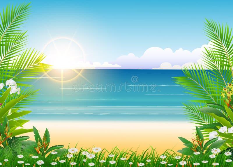 Cielo azul y palmera soleados de la belleza stock de ilustración