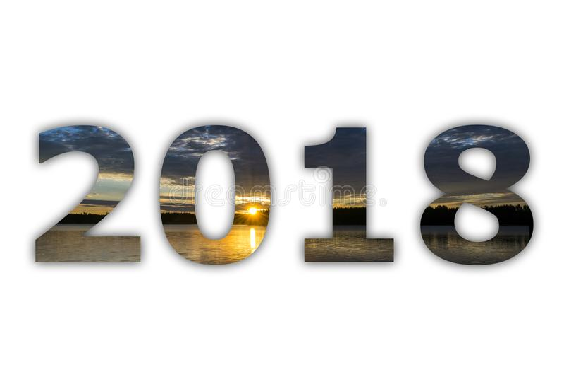 cielo blanco del panorama de 2018 dígitos numéricos con salida del sol en el fondo blanco ¡Feliz Año Nuevo y la Navidad! El Año N fotografía de archivo