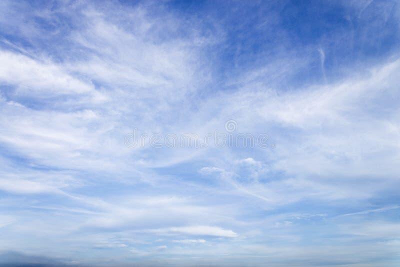 Cielo blu con la fine sul fondo delle nuvole e sulla p minuscoli lanuginosi bianchi immagini stock libere da diritti