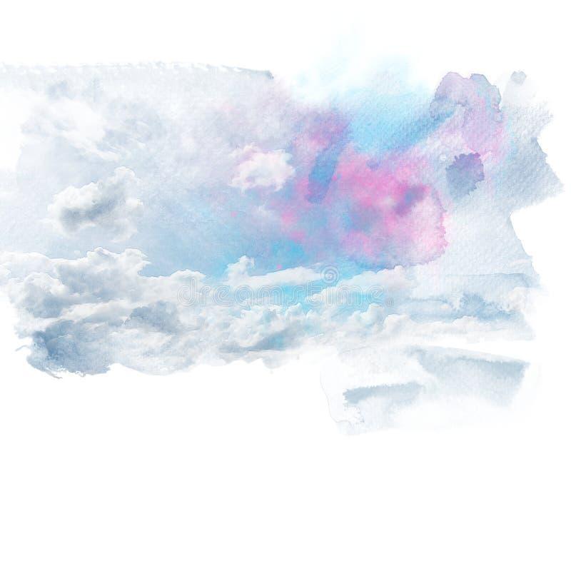 Cielo blu con la nube bianca illustrazione vettoriale