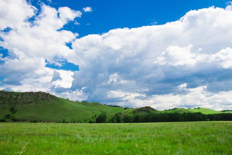 Cielo blu con le nuvole, i campi ed i prati bianchi con erba verde, sui precedenti delle montagne Composizione della natura rural immagine stock libera da diritti