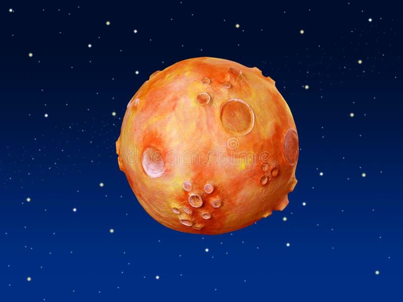 Cielo blu dell'arancio del pianeta di fantasia dello spazio illustrazione vettoriale