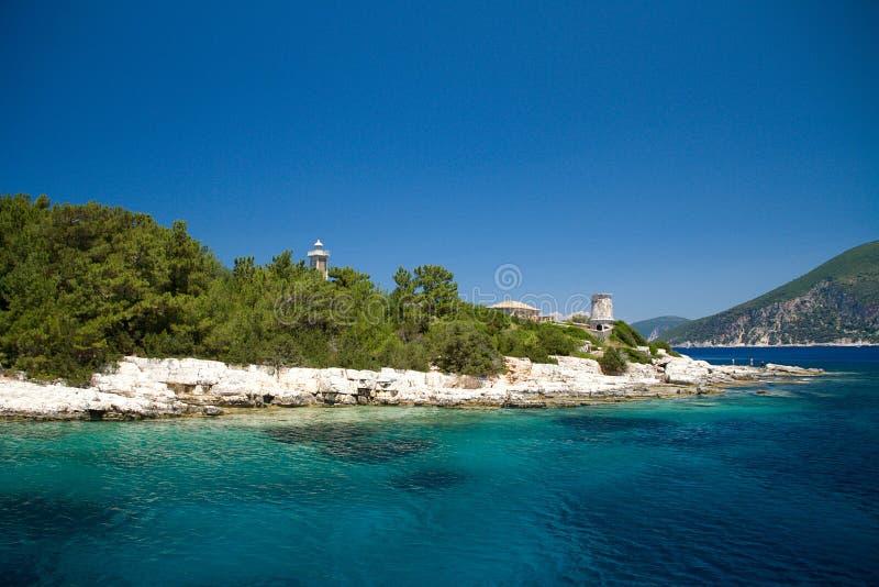 Cielo blu di viaggio di Europa del mare della spiaggia di estate di Vathy Grecia fotografia stock