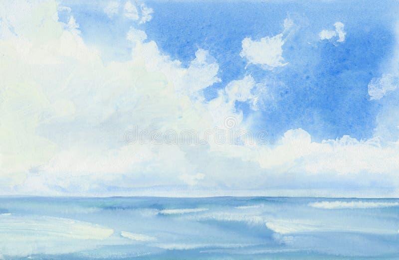 Cielo blu e mare illustrazione vettoriale