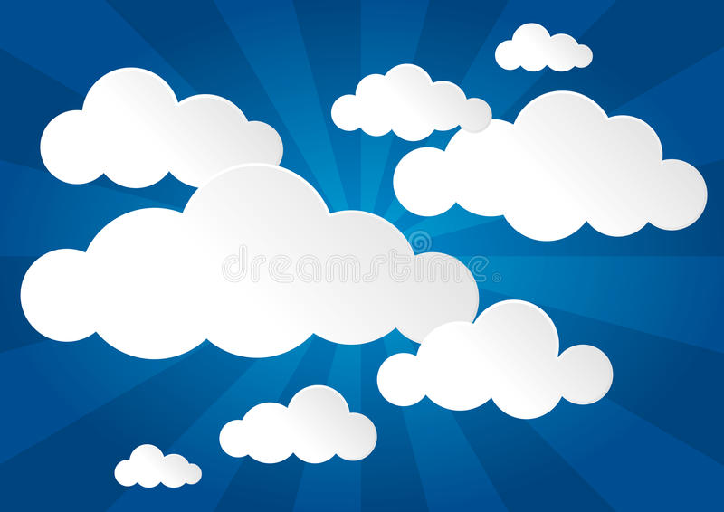 Cielo blu e nuvole illustrazione di stock