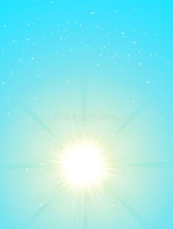 Cielo blu e sole Progettazione realistica della sfuocatura con i raggi di scoppio Priorità bassa brillante astratta illustrazione di stock