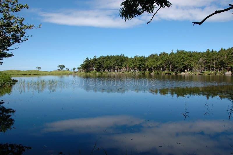 Cielo blu nel lago blu fotografia stock