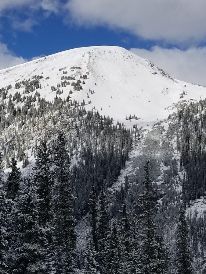 Cielo blu Ski Area del cappuccio della neve della montagna fotografia stock