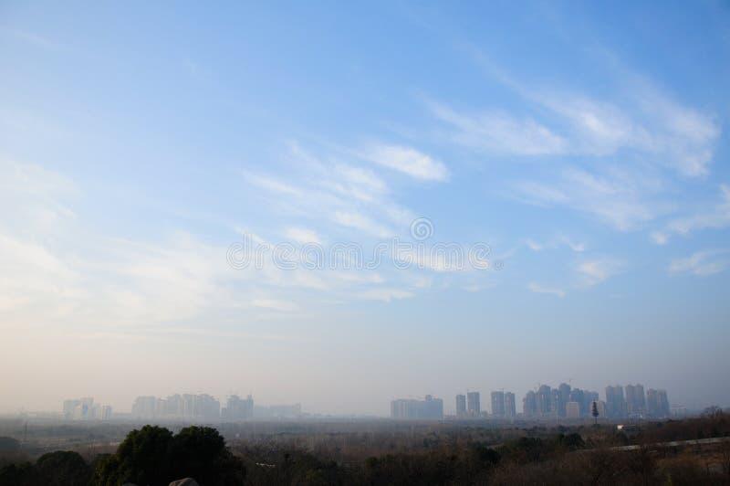 Cielo blu sopra Hefei Cina fotografia stock