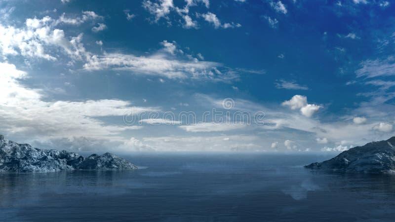 Cielo blu sopra l'oceano illustrazione vettoriale