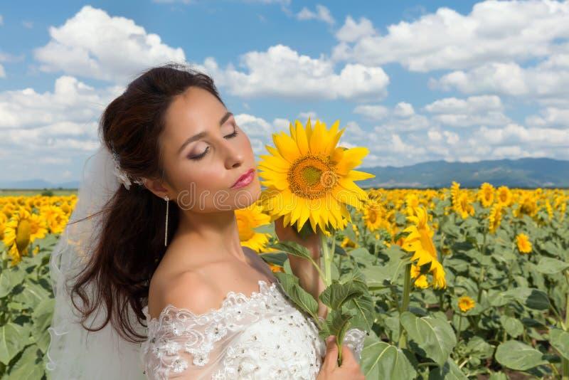 Cielo blu sul suo giorno delle nozze fotografia stock libera da diritti